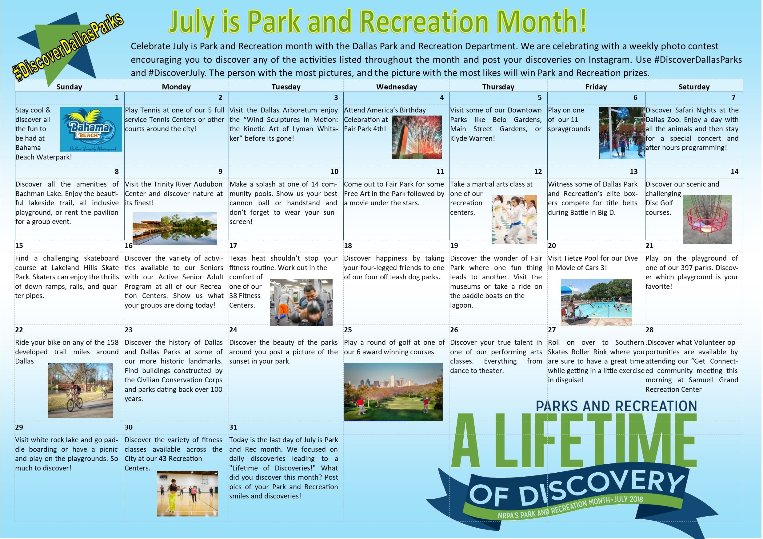 July is Park and Rec Month 2018