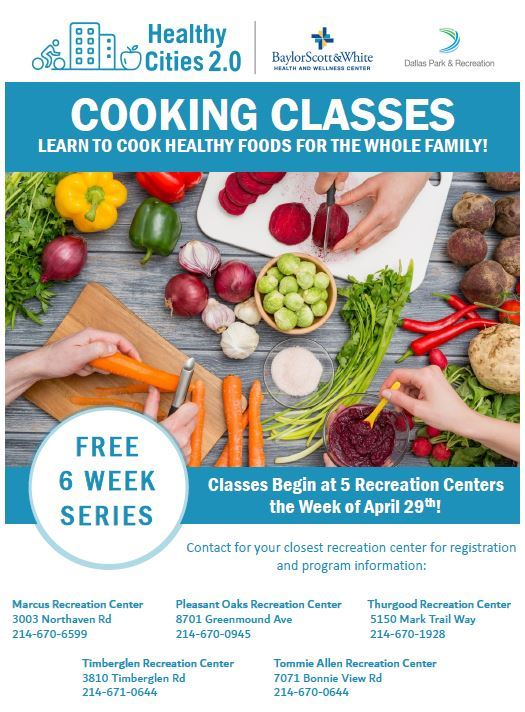 Healthy Cities Cooking Class Flyer